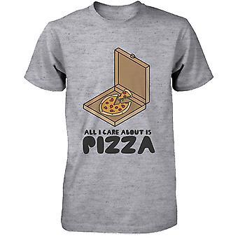 Alles wat ik zorg over Is Pizza grappig T-shirt schattig Graphic Tee hemd voor mannen