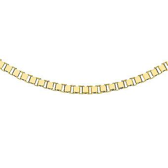 TJC 9K Yellow Gold Box Chain Necklace for Women 20 '' in Glossy Finish