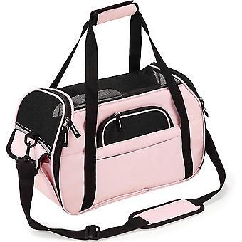 Haustierbedarf, atmungsaktive Mesh-Einkaufstasche, Haustiertasche, Oxford-Tuch, Rosa, 48 * 25,5 * 33 cm