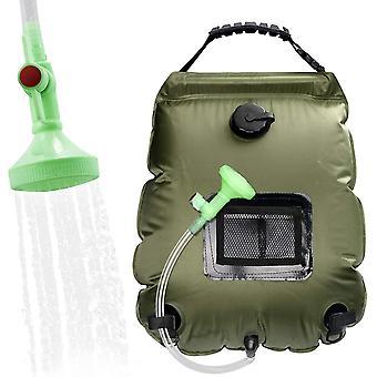 Bolsa de ducha de lavado de botella de agua caliente solar solar al aire libre de 20l, adecuada para acampar, bañarse y bañarse (verde militar)