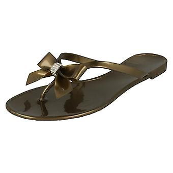 Jelly Toe Post Flip Flops with Bow With Diamante Trim