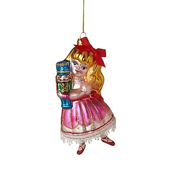Clara Holding Nutcracker Glass Christmas Holiday Ornament 5.5 Inches