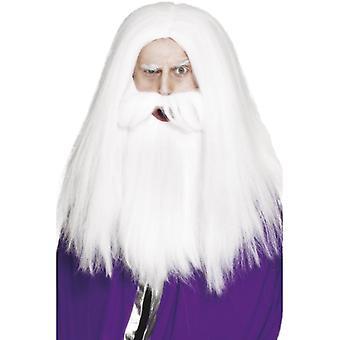 Čaroděj kostým set paruka u vousatý středověký Merlin