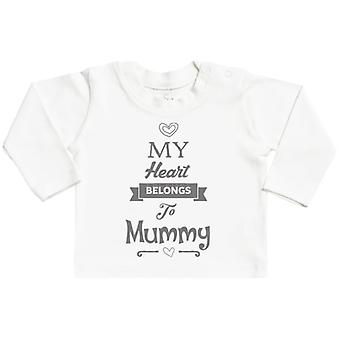 Spoilt Rotten Heart Belongs To Mummy Long Sleeve Baby T-Shirt Top