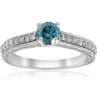 3/4ct Blue & White Diamond Vintage Engagement Ring 14K White Gold