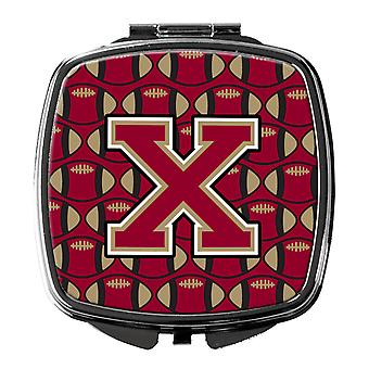 Letter X Football Garnet and Gold Compact Mirror