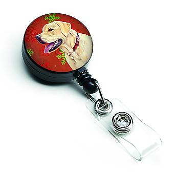 Labrador Red and Green Snowflakes Holiday Christmas Retractable Badge Reel