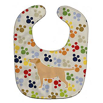 Carolines Treasures  BB6302BIB Yellow Labrador Retriever Pawprints Baby Bib