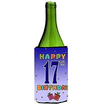 Happy 17th Birthday Wine Bottle Beverage Insulator Hugger