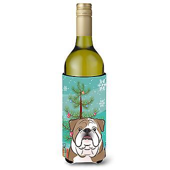 Árbol de Navidad y Bulldog Inglés botella de vino bebidas aislador Hugger