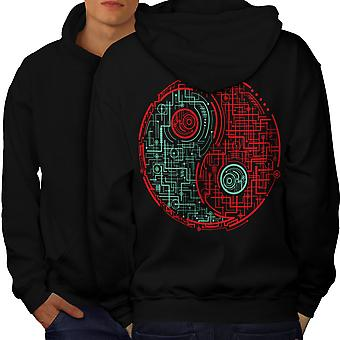 Symbol Dark Light Japan Men BlackHoodie Back | Wellcoda