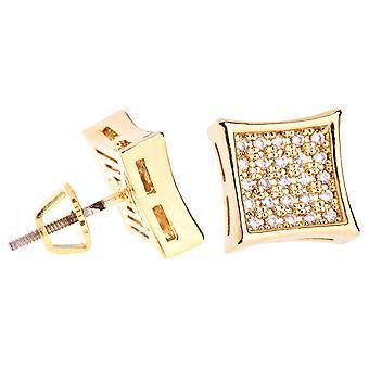 Jäätyä pois bling micro pave korvakorut - K-LEIJA 10 mm kulta