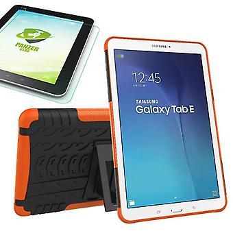Υβριδική εξωτερική υπόθεση πορτοκαλί για Samsung Galaxy Tab E 9,6 SM T560 + 0,4 σκληρυμένο γυαλί
