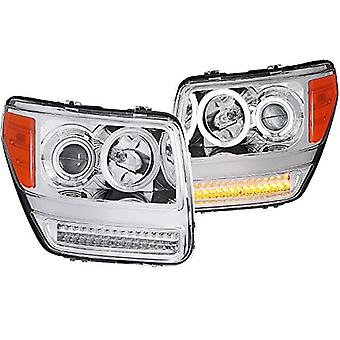 Anzo USA 111144 Dodge Nitro G2 Projector Halo Chrome Clear AmberHeadlight Assembly - (Sold in Pairs)