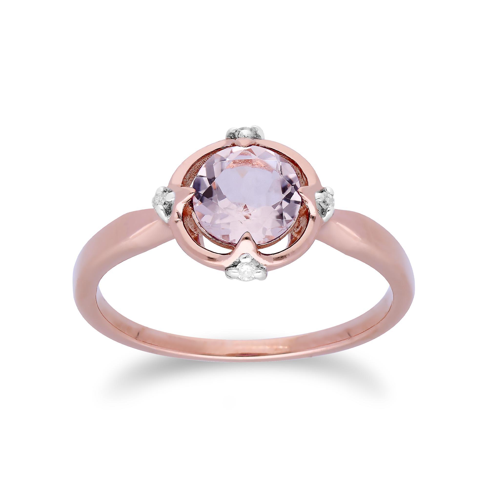 Gemondo 9ct Rose Gold Halo Morganite & Diamond Round Cut Ring