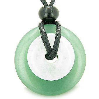 Double Lucky Amulet Magic Donuts Green Aventurine White Jade Protection Money Pendant Necklace
