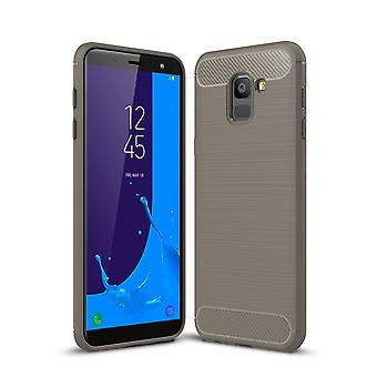 Carbono de caso silicona gris Samsung Galaxy J6 buscar TPU móvil Funda de parachoques 211783