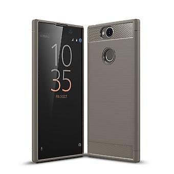Sony XA2 além de óptica de fibra de carbono caso TPU escovado cinza de capa de proteção