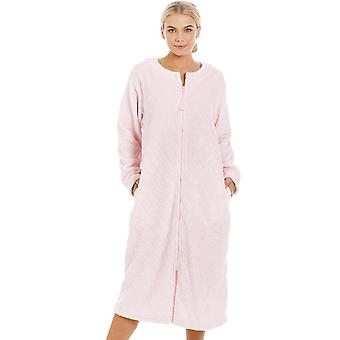Camille Womens Supersoft Light Pink Zip Up Diamond Print Housecoat