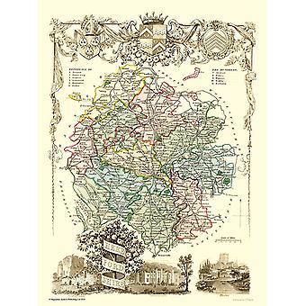 Gammal karta i Herefordshire 1836 av Thomas Moule 1000 bit pussel (jhg)