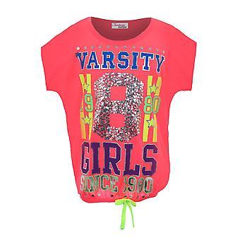 子供の女の子のネオン ピンク バーシティ トップ スパンコール 1980年カジュアル パーティー t シャツ