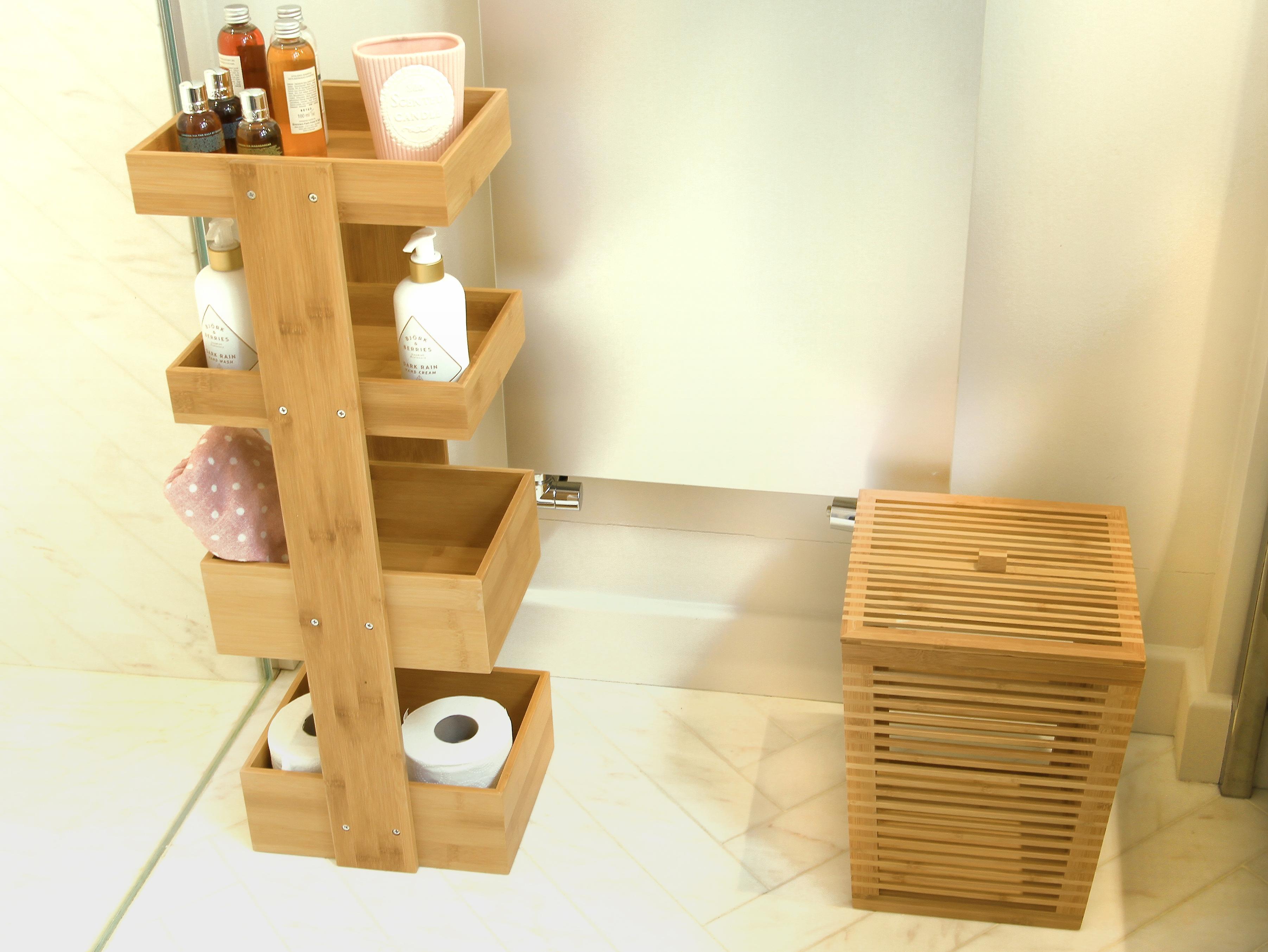 Woodquail Bathroom Bin with Lid H 32 cm, Made of Waterproof Bamboo