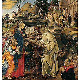 聖ベルナール、フィリッピーノリッピ、50x50cmのビジョン