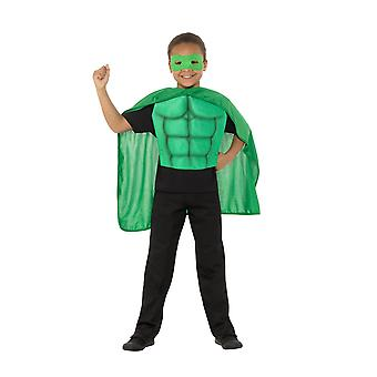 Barna Superhero Kit Green, Eyemask EVA & Cape, gutter Fancy kjole alderen 8-12
