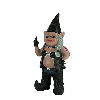 Gnofun the Naughty Lady Biker Gnome Statue Motorcycle Leather 13 Inch