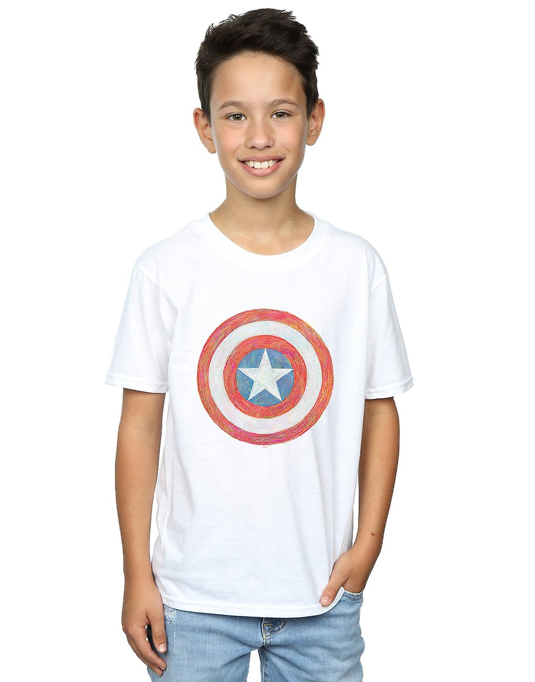 Marvel Boys Captain America Sketched Shield T-Shirt