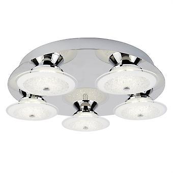 Kara krom og Glass fem lys LED Flush tilpassing - søkelys 3745-5CC