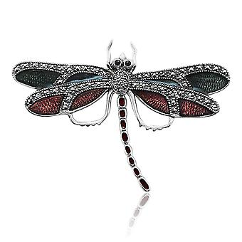 Art Nouveau Style Round Marcasite & Enamel Dragonfly Brooch in 925 Sterling Silver 27069