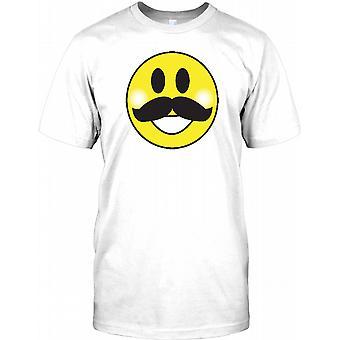 Smiley Face With A Moustache - Acid House Kids T Shirt
