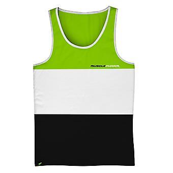 MusclePharm Mens MP Tri-Fold Tank Top - Green/White/Black - gym fitness