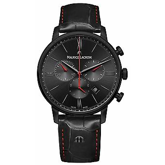 Maurice Lacroix Eliros Black PVD Plated Black Leather Strap EL1098-PVB01-310-1 Watch