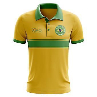 Brasilien-Konzept-Streifen-Polo-Shirt (gelb)