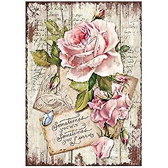 Stamperia Rice Papier A4 Sweet Time Rose