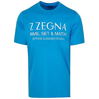 Z Zegna Blue Chest Logo T-Shirt
