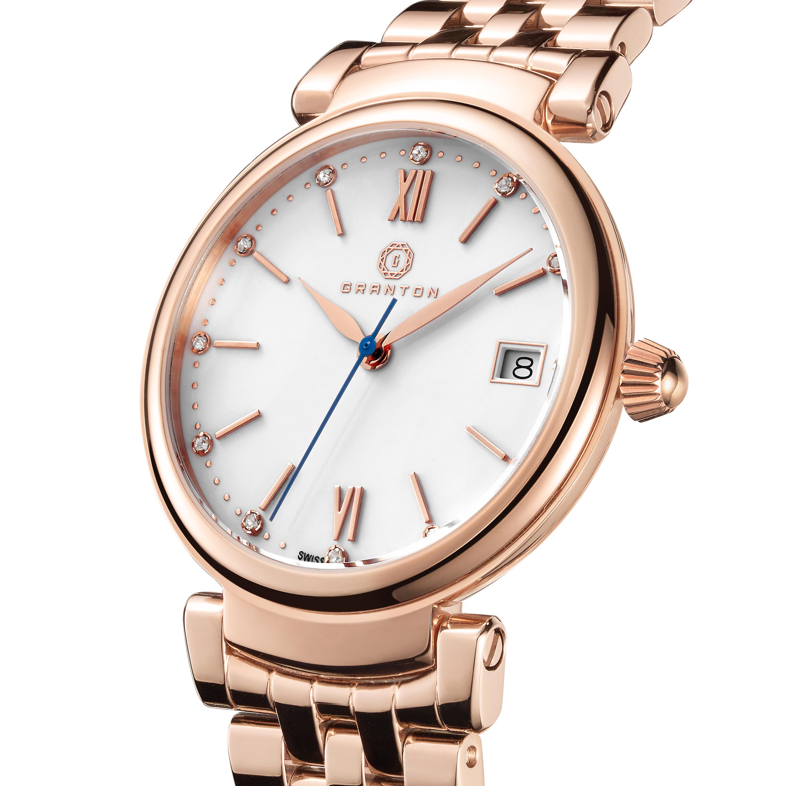 Granton Women�s Rose Gold-Tone Diamond Accented Enamel Dial Wrist Watch for Ladies � Swiss Movement Stainless Steel