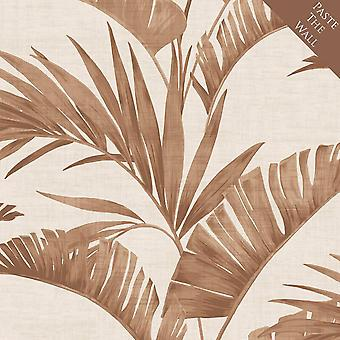 Arthouse Banana Palm Leaf Coffee Wallpaper Paste the Wall Leaves Copper Metallic