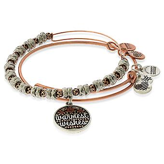 Alex And Ani Warmest Wishes EWB - Two Tone - Set of 2 - ROG