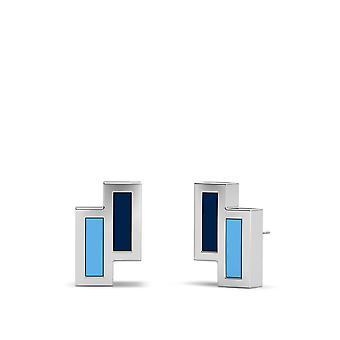 University Of Rhode Island Sterling Silver Asymmetric Enamel Stud Earrings In Blue and Sky Blue