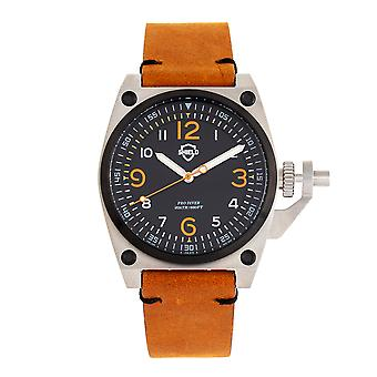 Shield Pascal Leather-Band Men's Diver Watch - Camel/Black