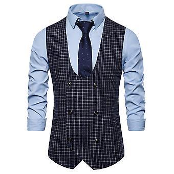 Allthemen Men's Plaid Double-Breasted U-Neck Business Casual Suit Vest 3 Colors