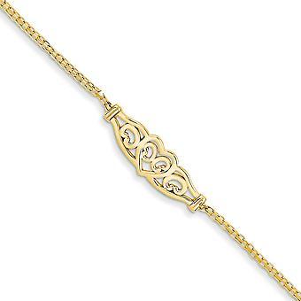 14k Gul Guld polerad hummer claw stängning Kärlek Hjärta Anklet Hummer Klo smycken gåvor för kvinnor - Längd: 9 till 10
