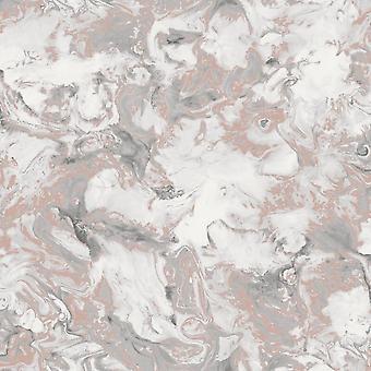 Muriva Elixir Liquid Marble Effect Wallpaper Rose Gold Silver Metallic Shimmer