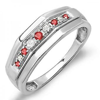 Dazzlingrock Collection Sterling Silver Round Ruby & White Diamond Men's Wedding Anniversary Band
