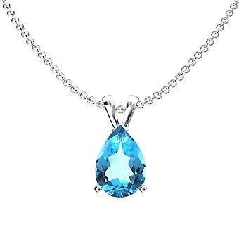Dazzlingrock Collection 14K 8x6 mm Pear Cut Blue Topaz Ladies Solitaire Pendant (Silver Chain Included), White Gold