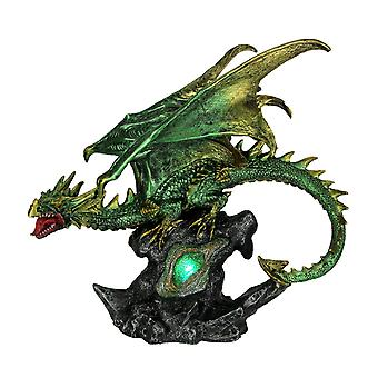 Green and Gold Dragon On Green LED Lighted Geode Statue