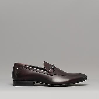 Basis London Sopran Herren Leder Loafers gewaschen Bordo